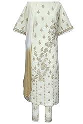 Ada Chikan Handmade Lemon Cotton Unstitched Salwar Suit Ethnic Dress Material A106436