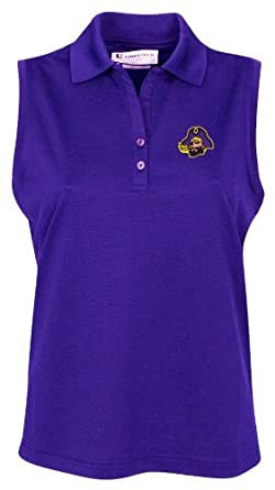 NCAA East Carolina Pirates Ladies Sleeveless Solid Pebble Texture Polo Shirt by Oxford