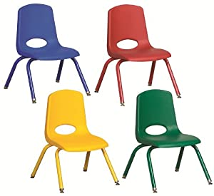 "12"" Plastic School Stack Classroom Chair with Matching Legs (Set of 6) Foot Type: Swivel Glide"