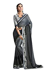 RUDDHI WOMEN'S DESIGNER GREY FASHION GEORGETTE SAREE