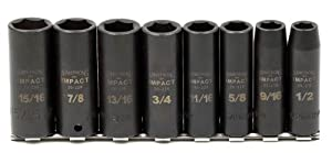 Armstrong 20-897 1/2-Inch Drive 6 Point SAE Deep Impact Socket Set, 8-Piece