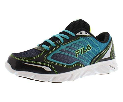 Fila Women's Fresh 3 Running Shoe, Black/Baltic/Safety Yellow, 8 M US