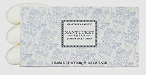 Crabtree & Evelyn Nantucket Briar Triple-Milled Bar Soap Set (Box of 3 - 3.5oz each)