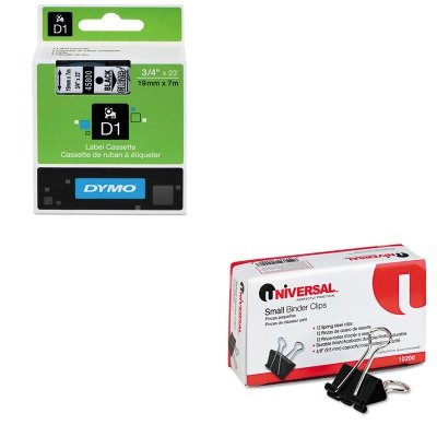 KITDYM45800UNV10200 - Value Kit - Dymo D1 Standard Tape Cartridge for Dymo Label Makers (DYM45800) and Universal Small Binder Clips (UNV10200) (Label Maker Small compare prices)