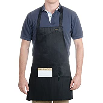 "Chef Revival 602BAFH Poly Cotton ""Front of the House"" Professional Bib Apron with 3 Compartment Front Pocket, 25 by 28-Inch, Black"