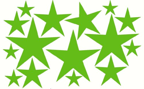 Wall Decor Plus More Wdpm203 Variety Star Wall Vinyl Sticker Decal 16 Pc 2In To 8In Peel-N-Stick By Wall Decor Plus More - Lime Green Lime Green front-1030840