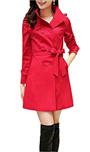 ZSHOW Women's Long Double Breasted Trench Coat Lapel Jackets With Belts(Red,US X-Small/Asian L)