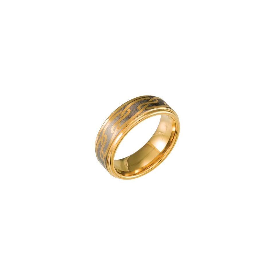 Ring Size 11.5 Tungsten 8.3mm Band with Black Immersion Plating Size 11.5