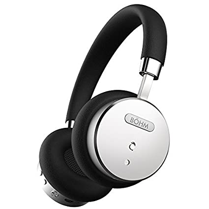 BÖHM Wireless Bluetooth Headphones with Active Noise Cancelling Headphones Technology - Features Enhanced Bass, Inline Microphone & 18-Hour (Max) Battery - Black/Silver