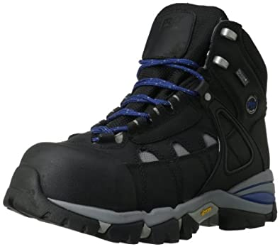 Timberland PRO Men's 6 Inch Hyperion CSA Approved Hiker Work Boot,Black/Blue Nubuck Leather,7 W US