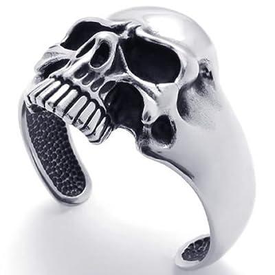 KONOV Jewelry Vintage Stainless Steel Skull Biker Tribal Mens Bangle Cuff Bracelet, Black Silver from Pin Zhen