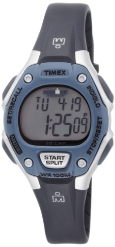 Timex Women's T5K409 Ironman 30-Lap Traditional Silver and Blue Case Resin Strap Sports Watch