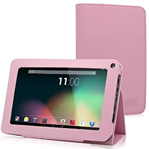 TabSuit PU Leather Folio Case with Stand for 7'' Dragon Touch K7 Android Tablet and more 7'' Tablets [By TabletExpress] (4. Pink)