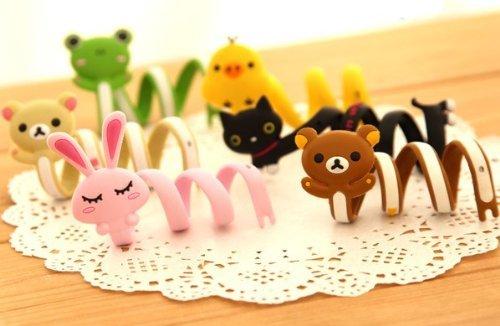 Animal Cable Ties Rubber Durable Flexible Portable Headphone Cellphone Design Rilakkuma Black Cat (6 Pcs)