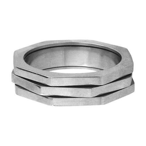 Size 14 - Inox Jewelry Hexagon 316L Stainless Steel Spin Ring