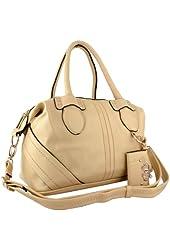 BANJO Everyday Satchel Handbag Purse Shopper Hobo Tote Bag + Hearts Décor Card Holder w/Shoulder Strap