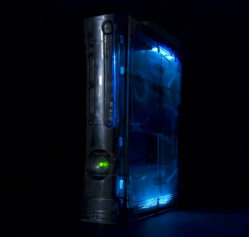 Xbox 360 CLEAR GHOST CASE - SMOKE CASE/HDMI/BLUE LIGHTS