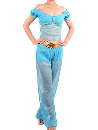 Adult Princess Jasmine Costume Women Cosplay Belly Dance Dress