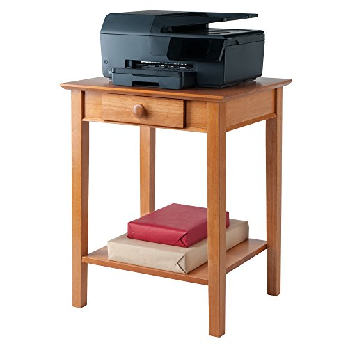 Wooden Printer Tables ~ Winsome wood printer stand with drawer and shelf honey