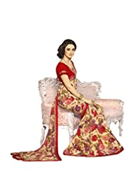 AG Lifestyle Beige & Red Georgette Saree With Unstitched Blouse SNS229A