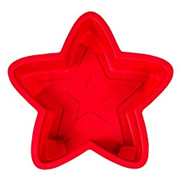 Kitchen Haven Silicone Cake Pan Mold for Christmas Baking and Novelty Shapes, Star, Red 9 inch, Single