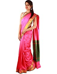 Indian Pink Party Wear Saree Artificial Silk Plain Zari Work Designer Sari