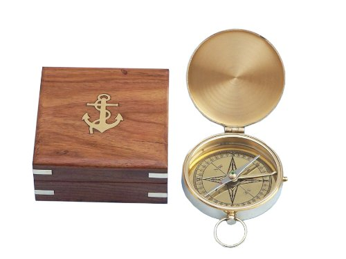Handcrafted Nautical Decor Solid Brass Gentlemen's Compass with Rosewood Box, 4