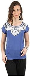 MANKA Women's Half Sleeve Top (MK-554_M, Blue, Medium)