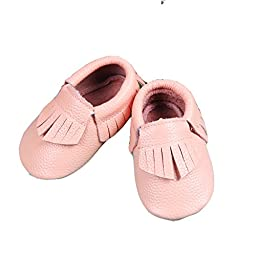 Unique Baby 100% Genuine Leather Baby Moccasins Anti-Slip Shoes S (5.1 inches) Peach