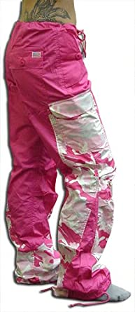 """GirlGirls Hipster """"Elliptic"""" UFO Pants (Hot Pink/Pink Camo) (Large (34-36 inches))"""