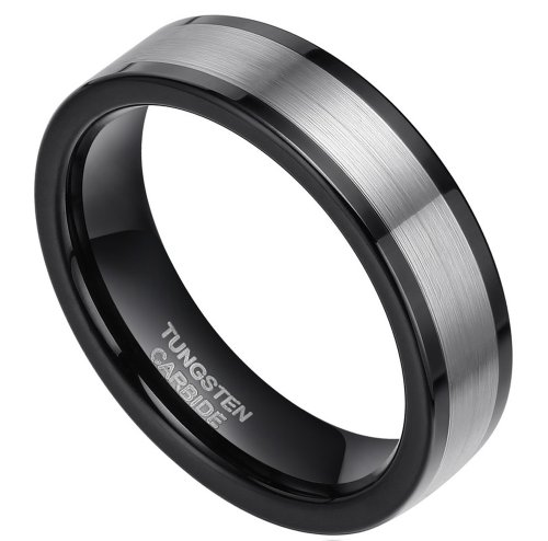 6Mm Black Tungsten Carbide Ring Wedding Band Flat Top Comfort Fit (Size 4 To 11) (6)