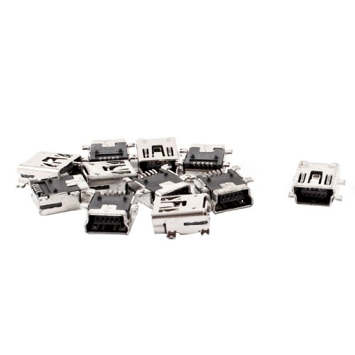 uxcell Replacement Mini USB Type B Female 5 Pin PCB Board Mount Jack Charger Connector 10 Pcs (Mini Usb Jack compare prices)
