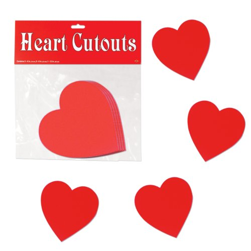 Pkgd Printed Heart Cutouts   (10/Pkg)