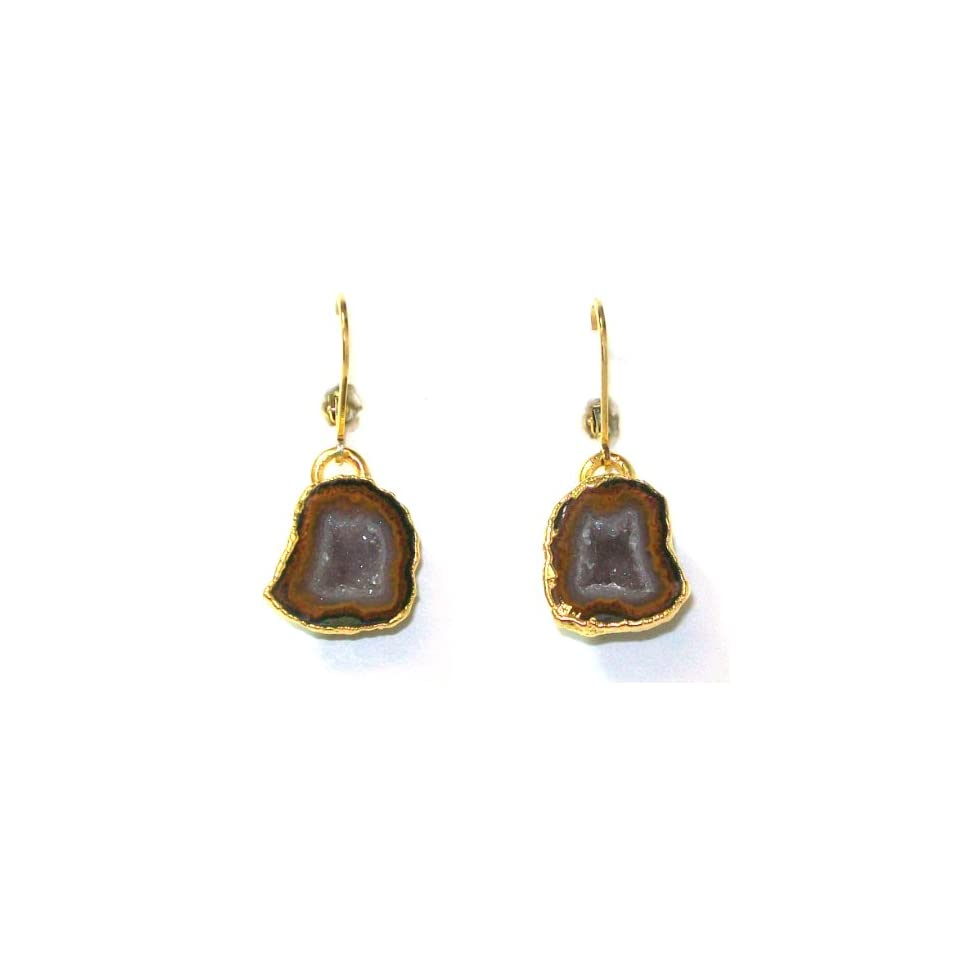 Nina Nguyen 22K Gold Vermeil Vortex Dangle Earrings With Gold Dipped Geode Crystal