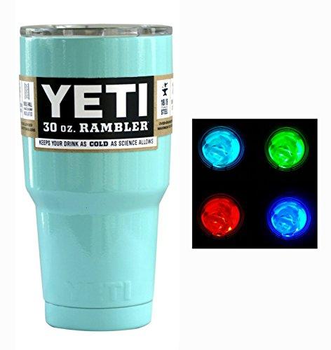 YETI Custom Powder Coated 30 oz (30oz) Rambler Tumbler with Lid and LED Multi-color Light (Seafoam Green)
