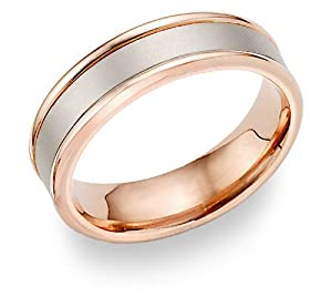 14K Rose Gold Brushed Wedding Band Ring