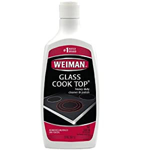 Removes burned on foods. Weiman Glass Cook Top Heavy Duty Cleaner & Polish cleans, shines and protects glass/ceramic smooth top ranges in one step. This biodegradable formula removes heavily burned on foods and will not scratch. Recommended for: GE, Whirlpool, Frigidaire, Thermador, & all major glass/ceramic cooktop manufacturers.