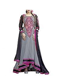 Admyrin Women's Grey Georgette Embroidered Anarkali Suit