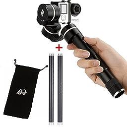 Feiyu FY G4 3 Axis Handheld Handle Steadycam Steady Camera gimbal for Gopro Hero 3 4 + Dshot bag+2pcs Carbon Fiber extension poles rod