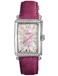 Gevril Women's 7248RT.14E Pink Mother-of-Pearl Genuine Ostrich Strap Watch