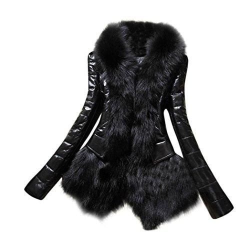 Koly_Nuovo progettista donne pelliccia calda del cappotto del collare in pelle giacca spessa (s)