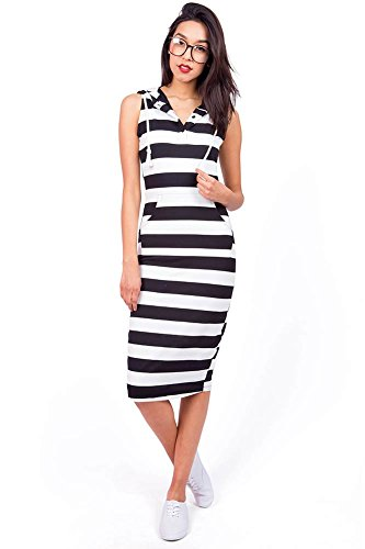 Pink Ice Women's Juniors Sleeveless Hooded Midi Dress, Black/White, Small Nautical Stripe Dress