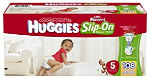 Huggies Little Movers Slip-On Diapers Mega Colossal Pack, Size 5, 108 Count