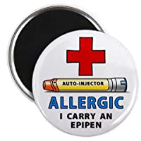 ALLERGY ALERT I Carry an EPIPEN Yellow Medical Alert 2.25 inch Fridge Magnet by Creative Clam
