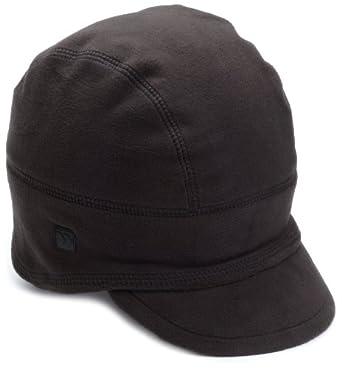 Isotoner Men's Stretch Fleece Small Brimmed Cap, Black, One Size