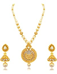 Sukkhi Exquisite Jalebi Gold Plated AD Necklace Set For Women