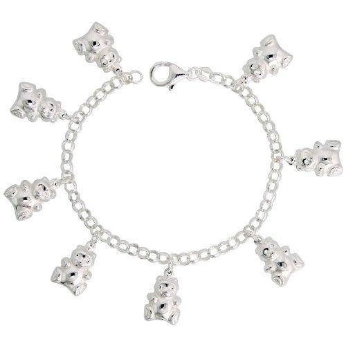 Sterling Silver Teddy Bear Pendant Bracelet, 3/4