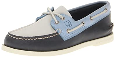 Sperry Top-Sider Men's Authentic Original 2-Eye Boat Shoe,Navy/Light Blue,10 M US