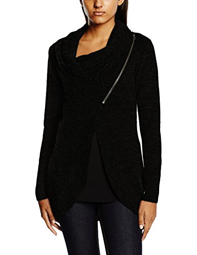ONLY onlNEW HAYLEY L/S ZIP CARDIGAN KNT NOOS, Cardigan Donna, Nero (Black), 42 (Taglia Produttore: X-Large)