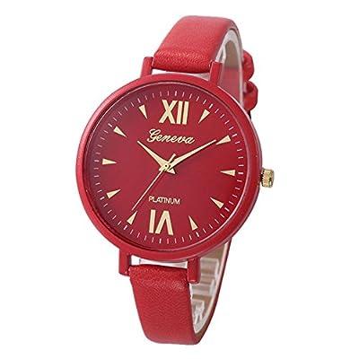 COCOTINA Women Geneva Roman Watch Lady Leather Band Analog Quartz Wrist Watch (Red)
